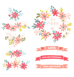 Collection of flower dividers vector