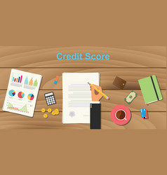 credit score concept with business man hand vector image
