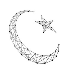 Crescent with a star symbol of islam from polygon vector