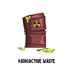 Dangerous radioactive waste rusty barrel with vector