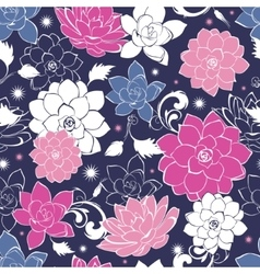 Dark grey pink floaral seamless pattern vector
