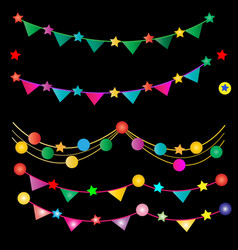 decorate party in different colors on black ba vector image