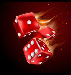 dices set with flame on dark background vector image