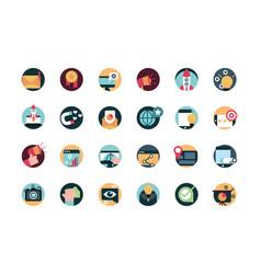 Digital marketing advertising media icons set vector