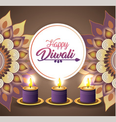 Diwali candles lits with mandlas decoration vector