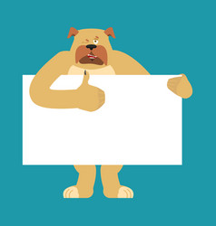 dog holding banner blank pet and white blank vector image