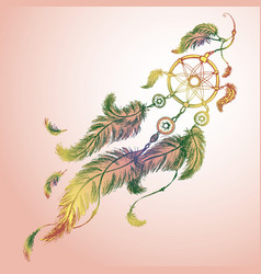dreamcatcher feathers and beads vector image