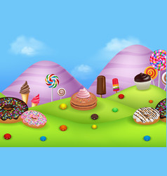 fantasy sweet city land vector image