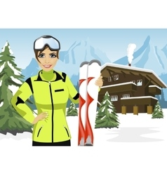 Female mountain skier standing in front of chalet vector