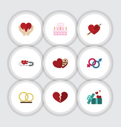 Flat icon amour set shaped box heart save vector