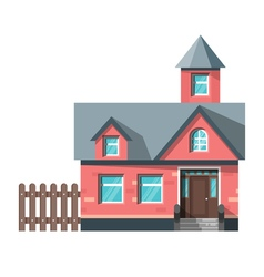flat style of red house Icon for web vector image