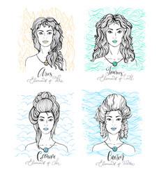 Four zodiac signs beauty girls vector