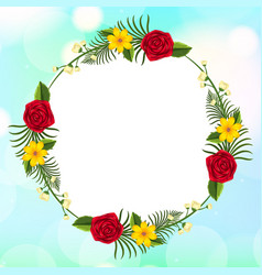 Frame template design with flowers on sky vector