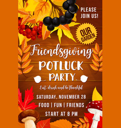 friendsgiving day poster potluck party vector image