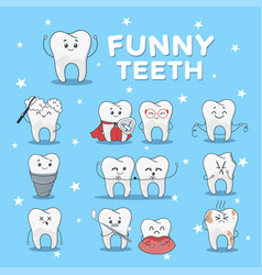 funny teeth icon set isolated on blue background vector image