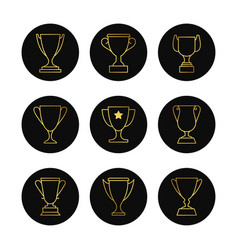 gold line goblets icon set vector image