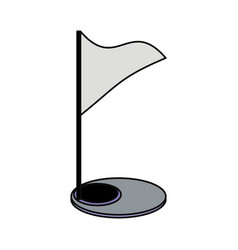 Golf flag and hole vector