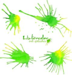Green watercolor splash blots vector
