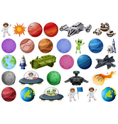Group planets and space obejcts vector