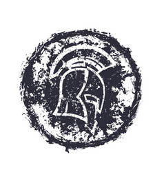 Grunge spartan helmet t-shirt print vector