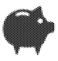 Halftone dot piggy bank icon vector