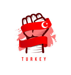 Hand and flag turkey template design vector