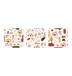 Hand drawn minimal cover design set contemporary vector
