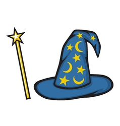 Hat of the wizard and magic stick vector image