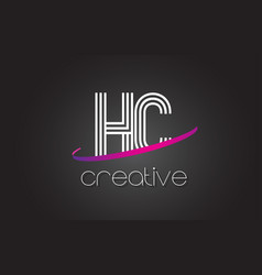 hc h c letter logo with lines design and purple vector image
