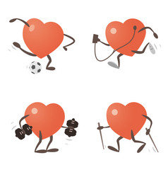 Heart exercising and practicing different sports vector