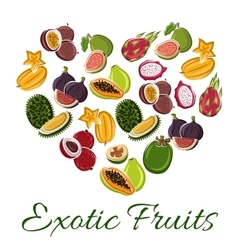 Heart with exotic fruit poster vector image