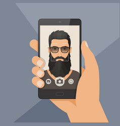 hipster bearded man lumberjack takes selfie using vector image