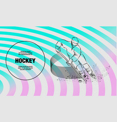 Hockey player in dynamic gliding on ice with a vector