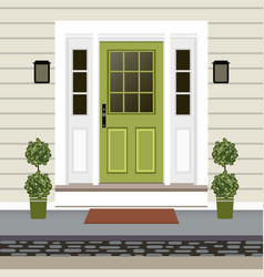 House door front with doorstep and mat steps lamp vector