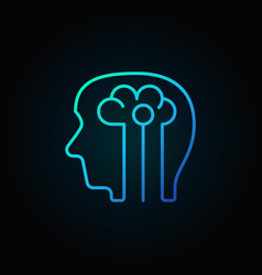 Human head with brain blue icon - vector