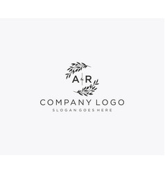 Initial ar letters floral frames monogram wedding vector