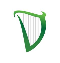Initial d letter harp symbol logo design vector