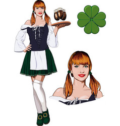 irish girl with beer vector image