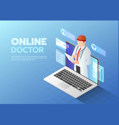 isometric web banner doctor doing online diagnose vector image