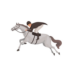 jockey man riding horse equestrian professional vector image