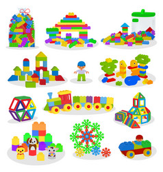 Kids building blocks baby toys colorful vector