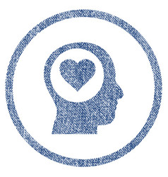 love thinking head rounded fabric textured icon vector image