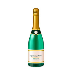 Luxury champagne green bottle isolated on white vector