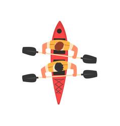 Male athletes paddling double kayak kayaking vector