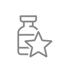 Medical ampoule with star line icon vaccine vector