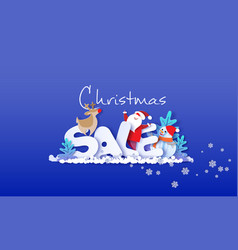 merry christmas sale design card with santa claus vector image