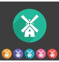 Mill windmill icon flat web sign symbol logo label vector image vector image