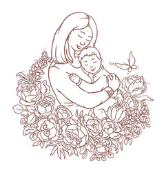 Mother with her little son adult coloring page vector