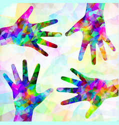 Multicolored abstract hands on background vector