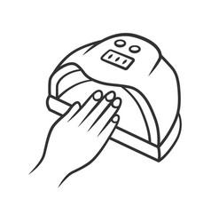 Nail dryer linear icon uv led hybrid lamp gel vector